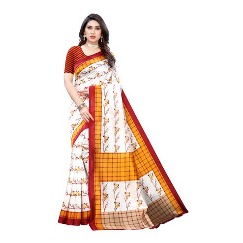 Gorgeous Off White-Yellow Colored Casual Wear Bird Printed Art Silk Saree