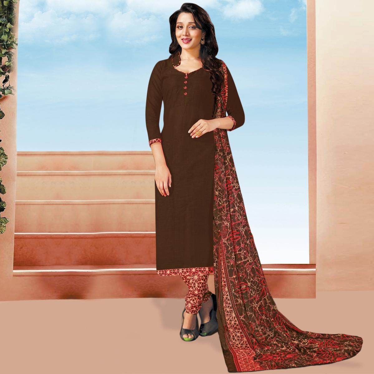 Ravishing Brown Colored Cotton Dress Material