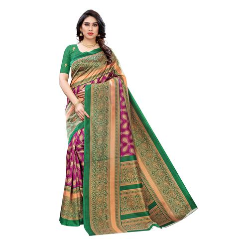 Ideal Purple Colored Festive Wear Printed Art Silk Saree