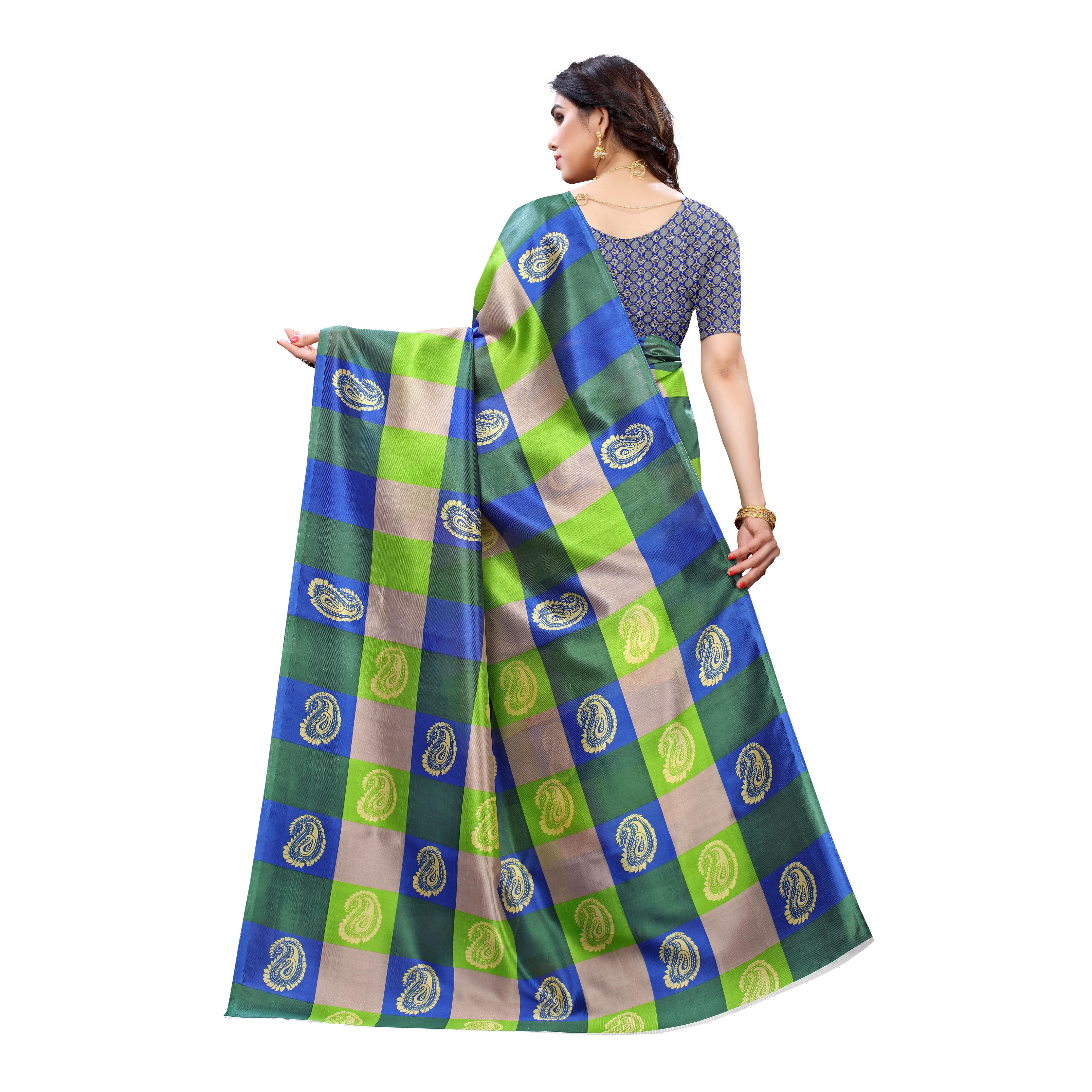 Lovely Green Colored Festive Wear Printed Art Silk Saree
