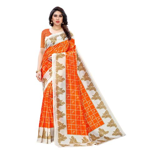 Breathtaking Orange Colored Casual Wear Peacock Printed Art Silk Saree