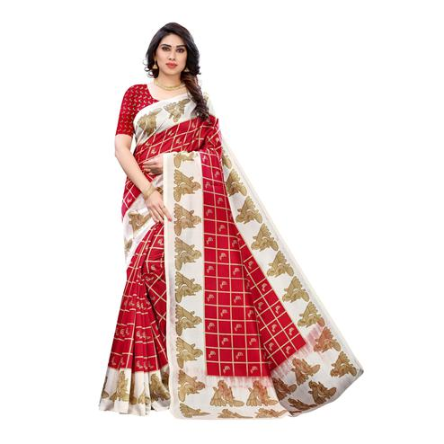 Ethnic Red Colored Casual Wear Peacock Printed Art Silk Saree