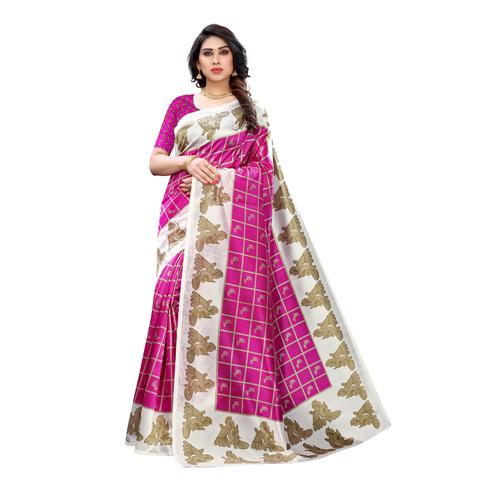 Ravishing Pink Colored Casual Wear Peacock Printed Art Silk Saree