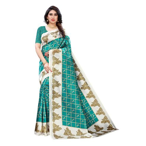 Staring Turquoise Colored Casual Wear Peacock Printed Art Silk Saree
