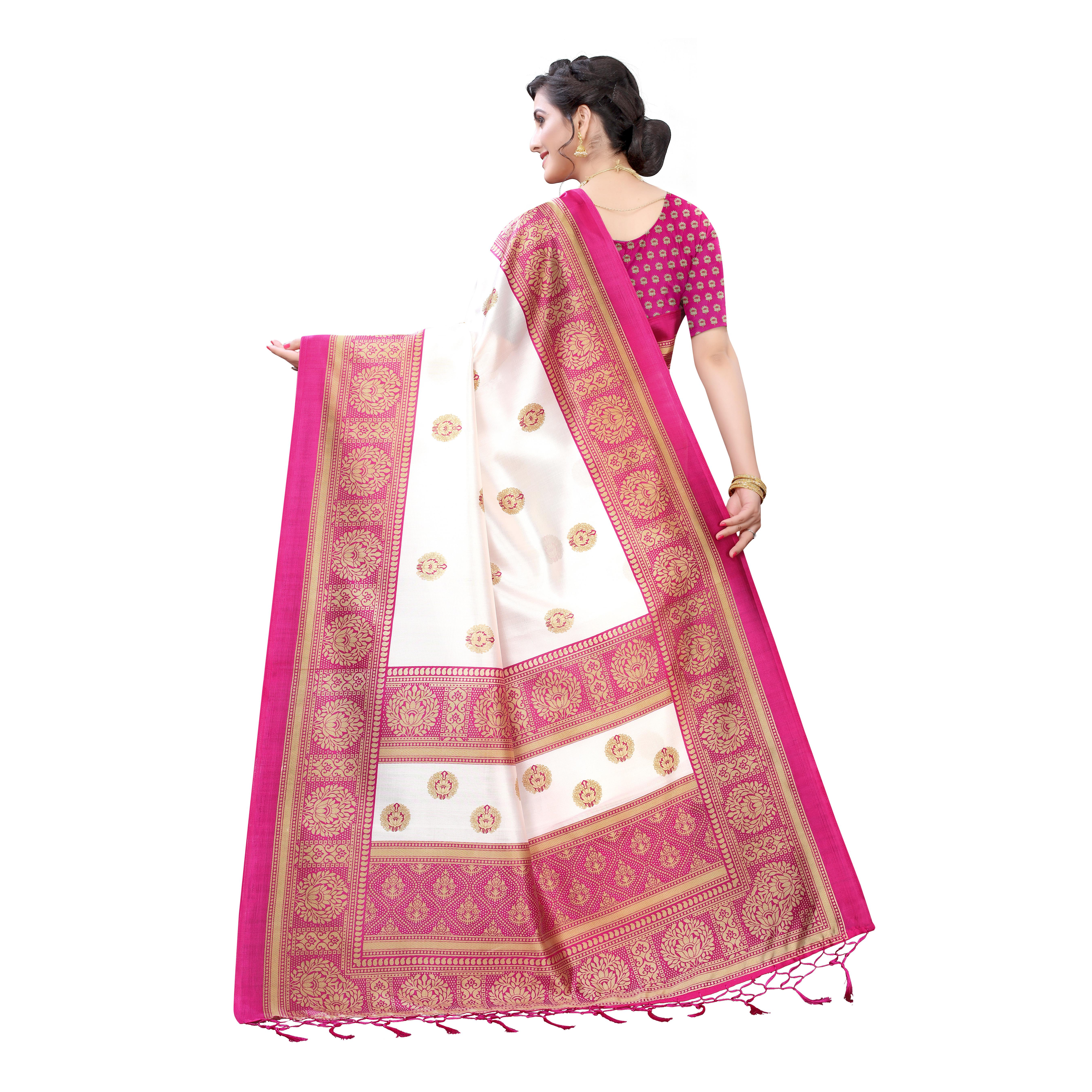 Dazzling White-Pink Colored Festive Wear Printed Art Silk Saree With Tassels