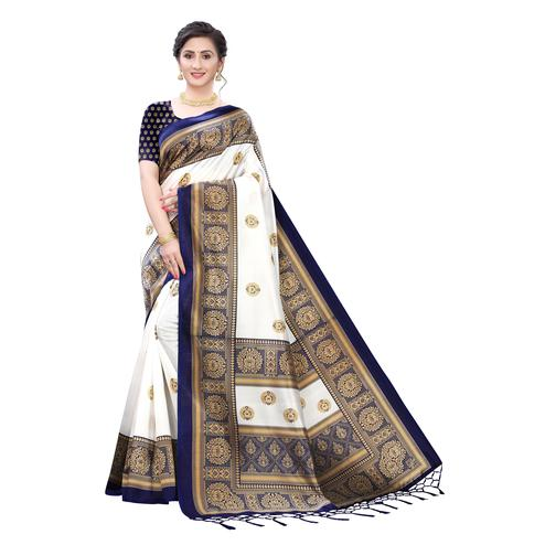 Surpassing White-Blue Colored Festive Wear Printed Art Silk Saree With Tassels