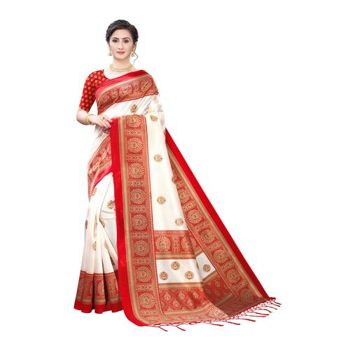 Intricate White-Red Colored Festive Wear Printed Art Silk Saree With Tassels
