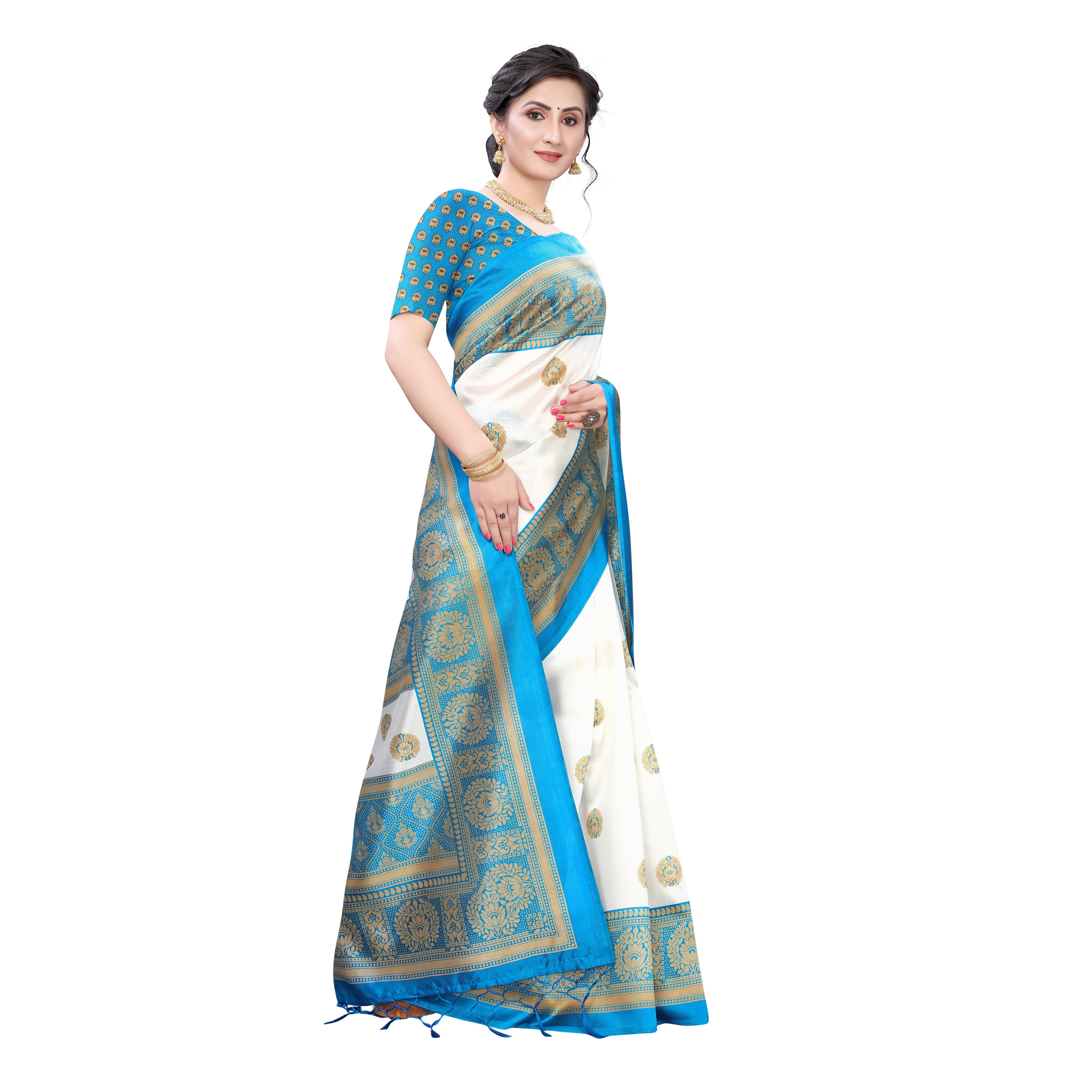Arresting White-Turquoise Colored Festive Wear Printed Art Silk Saree With Tassels