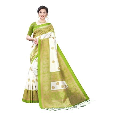 Desirable White-Green Colored Festive Wear Printed Art Silk Saree With Tassels