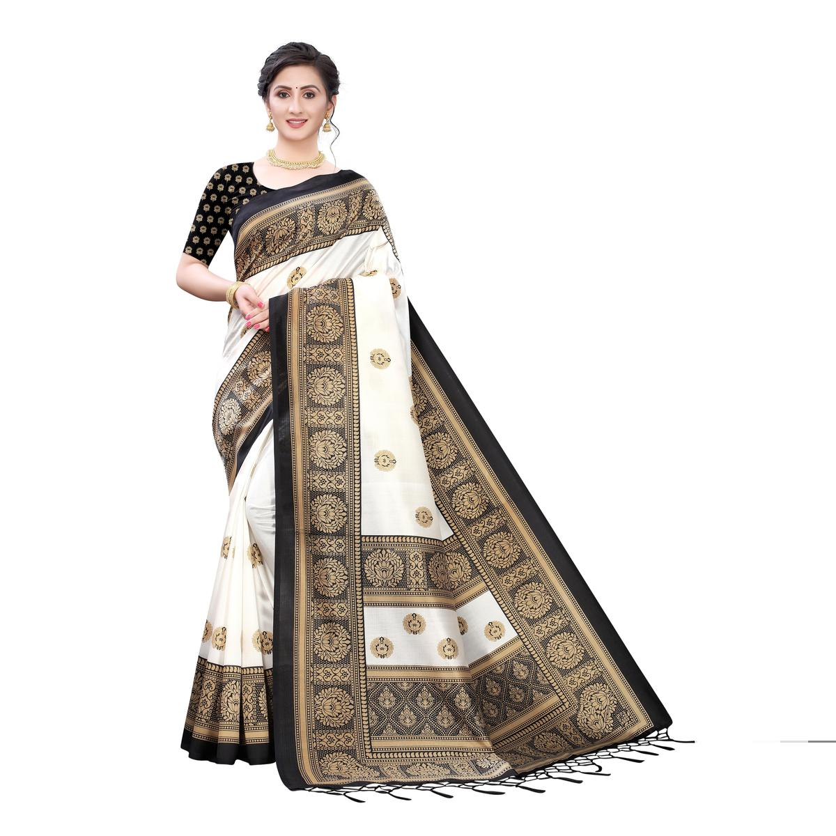 Exotic White-Black Colored Festive Wear Printed Art Silk Saree With Tassels