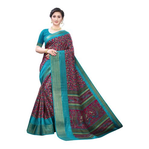 Sophisticated Purple-Turquoise Colored Festive Wear Floral Printed Linen Saree