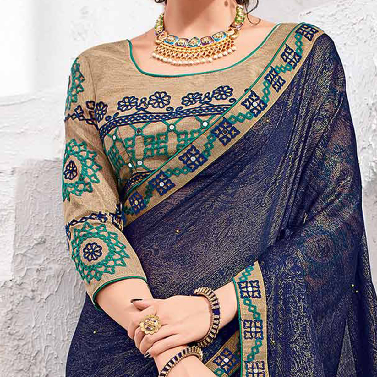 Mesmerising Violet Colored Designer Printed And Embroidered Partywear Moss Chiffon Saree