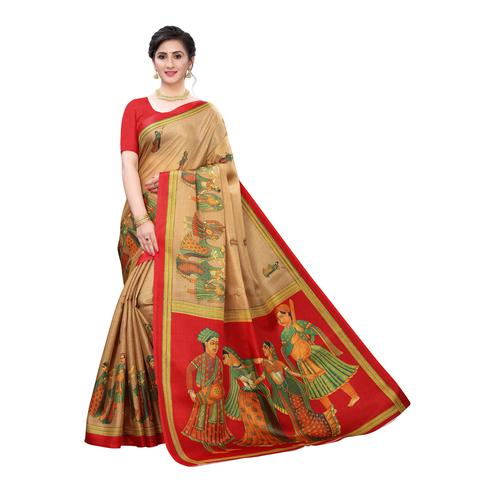 Opulent Beige Colored Festive Wear Printed Cotton Silk Saree