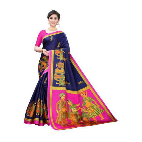 Energetic Navy Blue Colored Festive Wear Printed Cotton Silk Saree