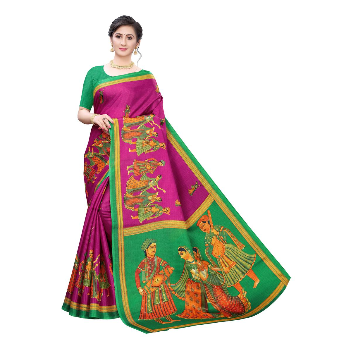 Glowing Pink Colored Festive Wear Printed Cotton Silk Saree