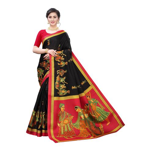 Exceptional Black Colored Festive Wear Printed Cotton Silk Saree