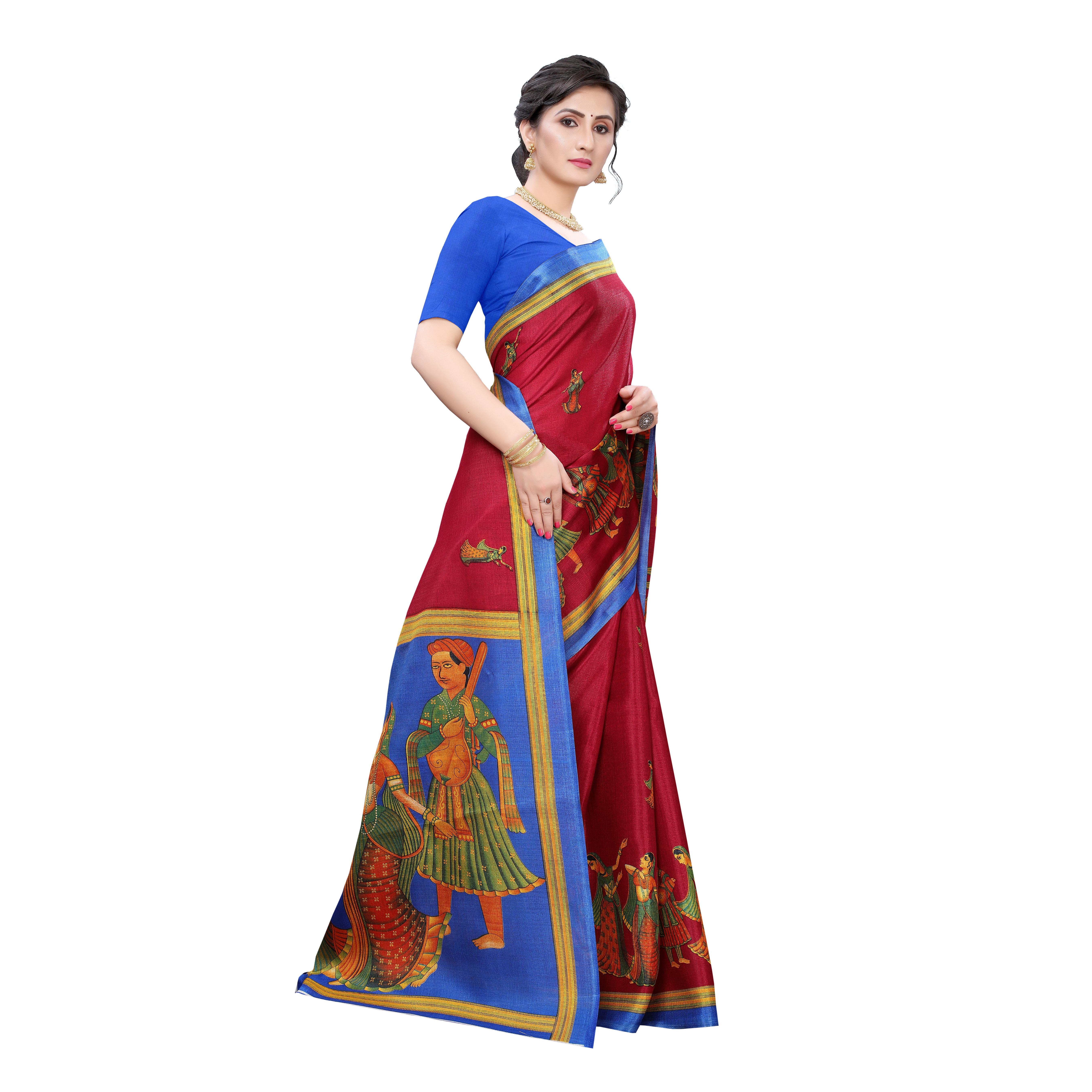 Gleaming Red Colored Festive Wear Printed Cotton Silk Saree