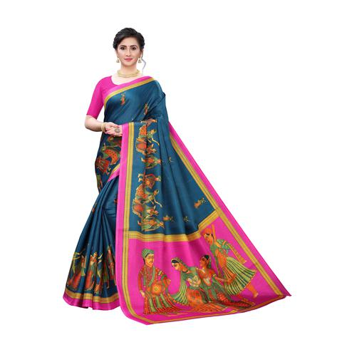 Mesmeric Turquoise Colored Festive Wear Printed Cotton Silk Saree