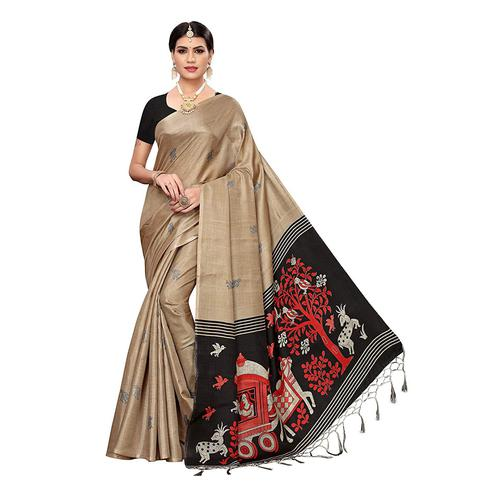 Unique Beige Colored Festive Wear Printed Cotton Silk Saree With Tassels