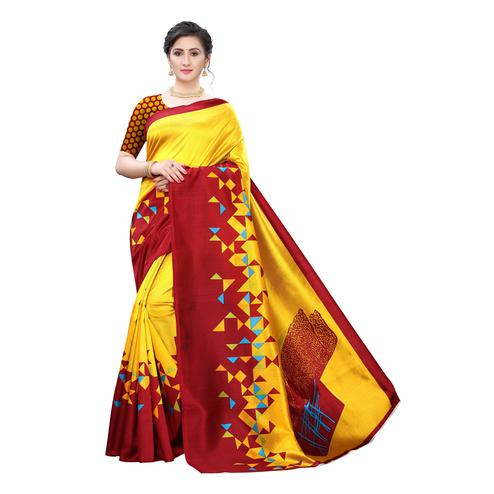Demanding Red Colored Festive Wear Printed Cotton Silk Saree With Tassels
