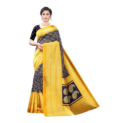 Hypnotic Yellow-Blue Colored Festive Wear Printed Art Silk Saree