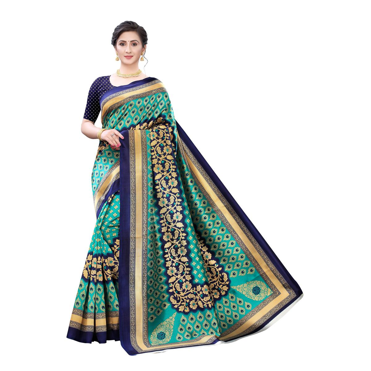 Excellent Turquoise Colored Festive Wear Printed Art Silk Saree