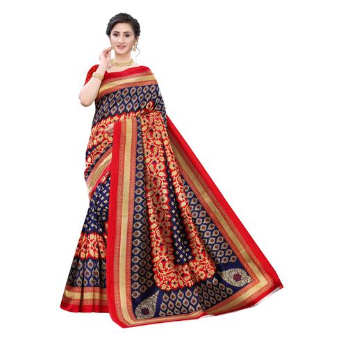 Preferable Red-Blue Colored Festive Wear Printed Art Silk Saree