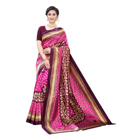 Marvellous Pink Colored Festive Wear Printed Art Silk Saree