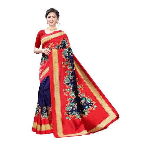 Flamboyant Blue-Red Colored Festive Wear Floral Printed Art Silk Saree