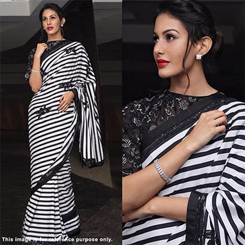 Gorgeous Black-White Striped Designer Partywear Georgette Saree