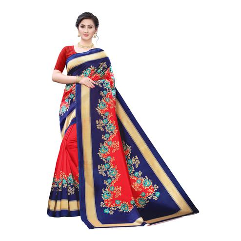 Alluring Red-Blue Colored Festive Wear Floral Printed Art Silk Saree