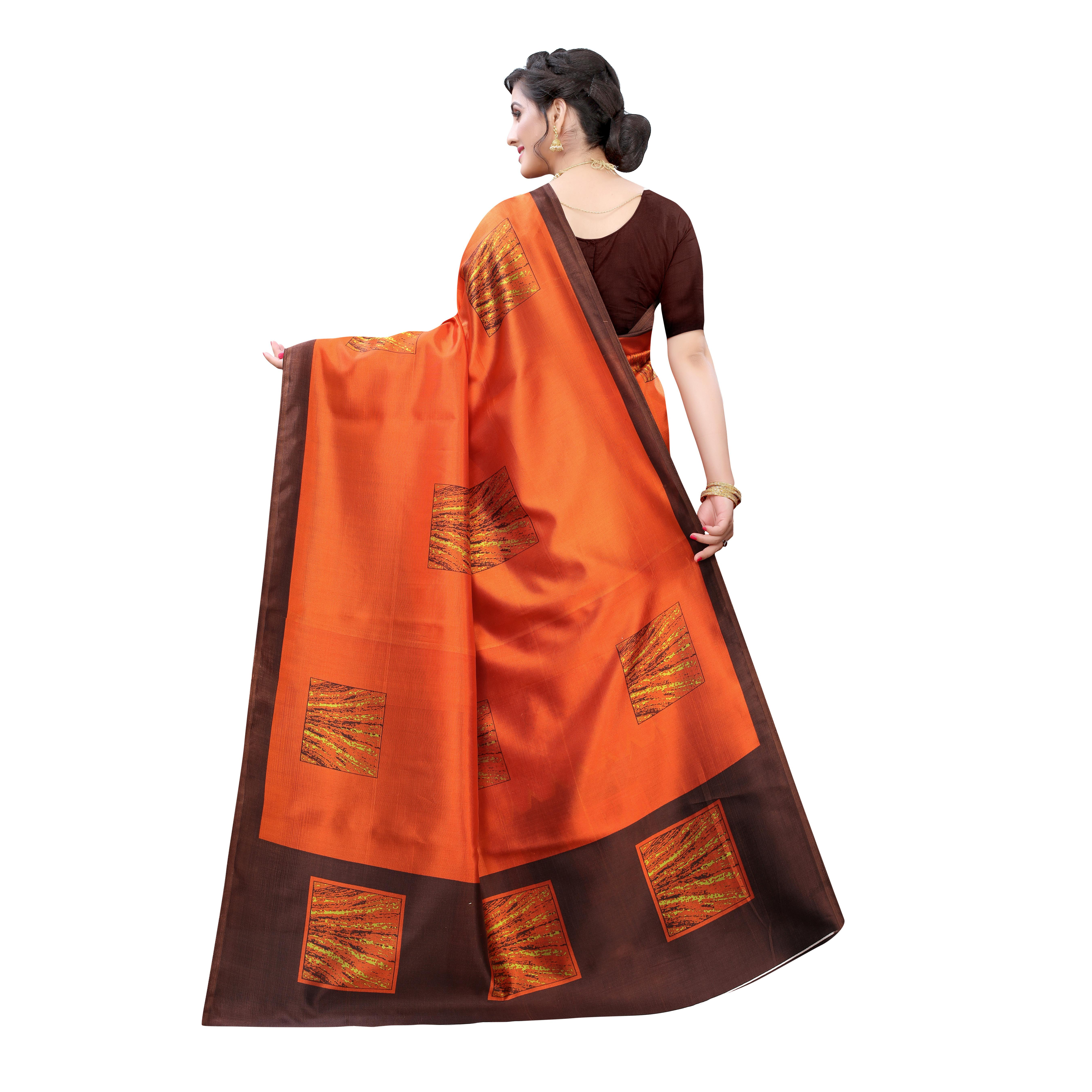 Adorning Orange Colored Casual Wear Printed Art Silk Saree