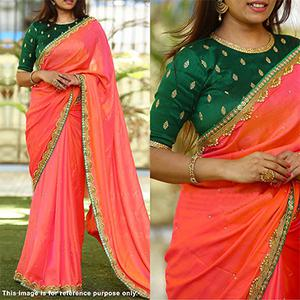 Pretty Peach Colored Designer Partywear Paper Silk Saree