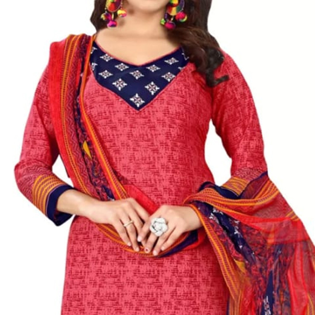 Beauiful Red Colored Printed Crape Dress Material