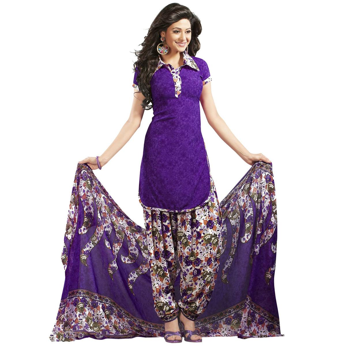 Pretty Purple Colored Printed Patiala Style Crepe Dress Material