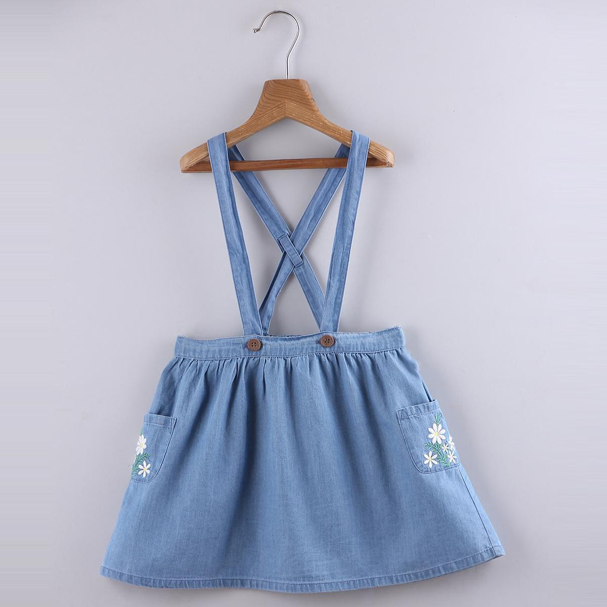 Beebay - Denim Embroidered  Skirt With Suspenders -Light Blue