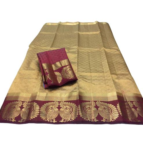 Elegant Golden-Maroon Colored Festive Wear Tussar Silk Saree