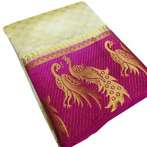 Beautiful Golden-Pink Colored Festive Wear Tussar Silk Saree
