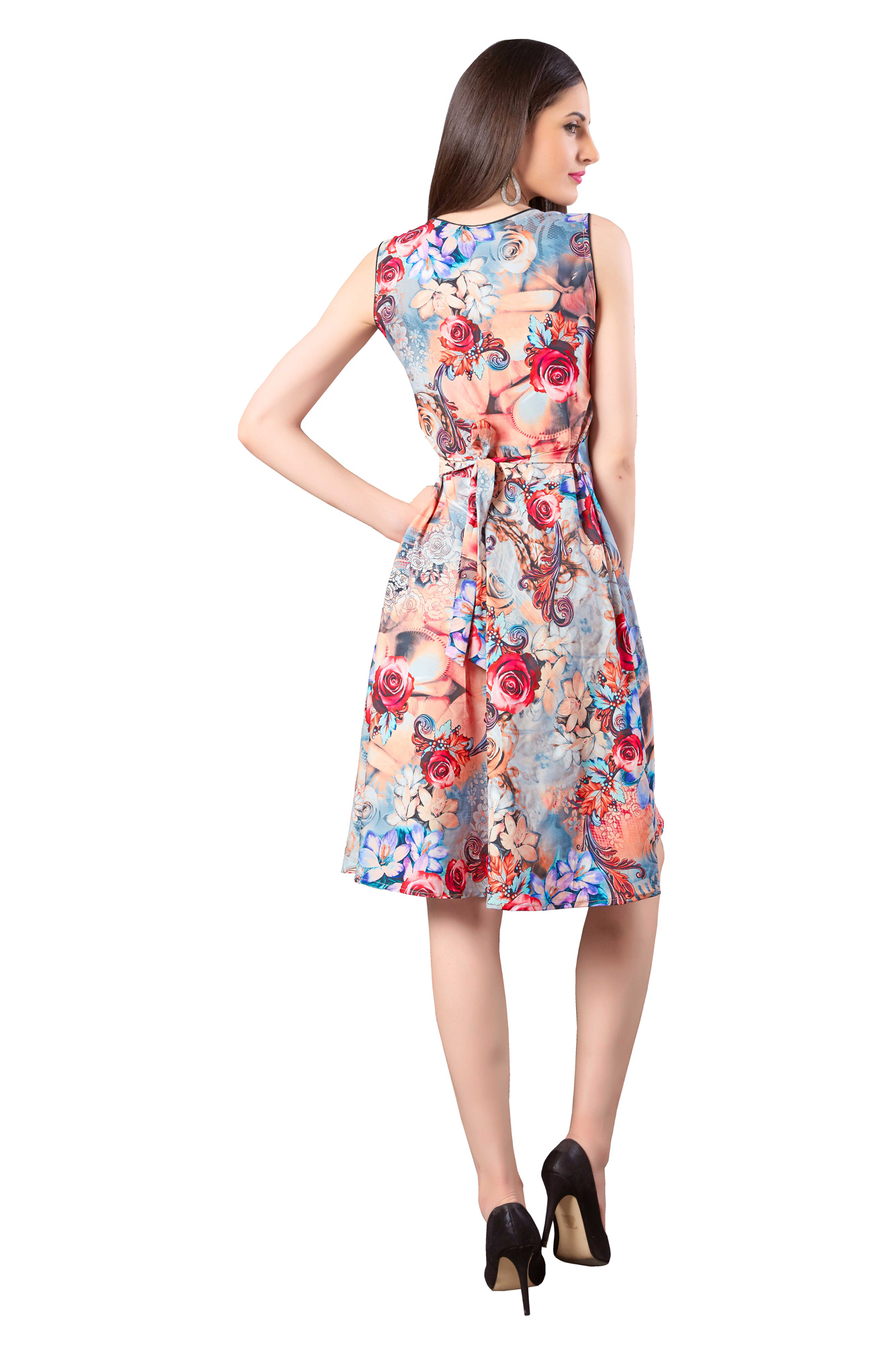 Multicolored Crepe Digital Printed Dress