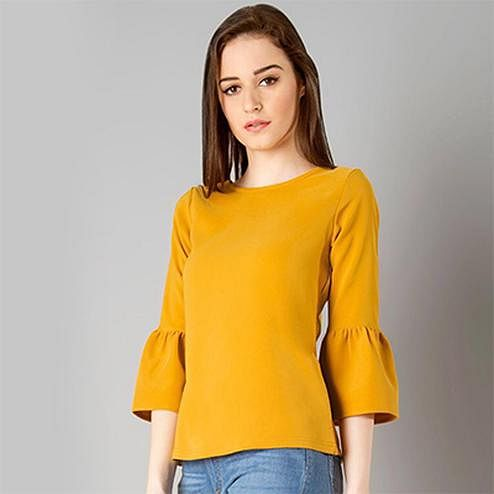 Ravishing Yellow Casual Wear Pure Swiss Crape Top