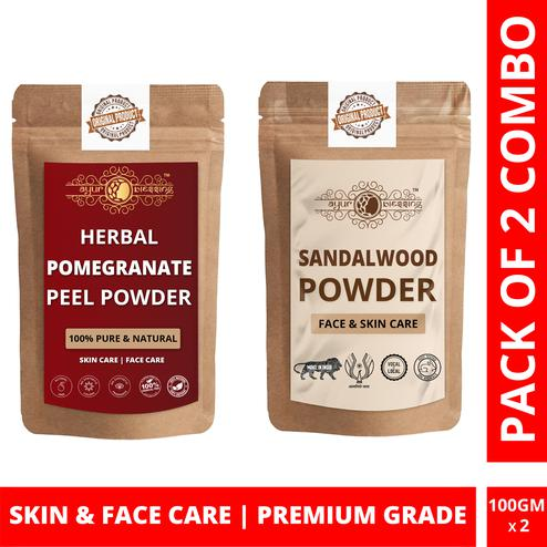 Ayur Blessing - Pomegranate Peel and Chandan Powder Combo Pack, For Face Pack and Skin Care , Pack of 2 (100 Gram * 2)