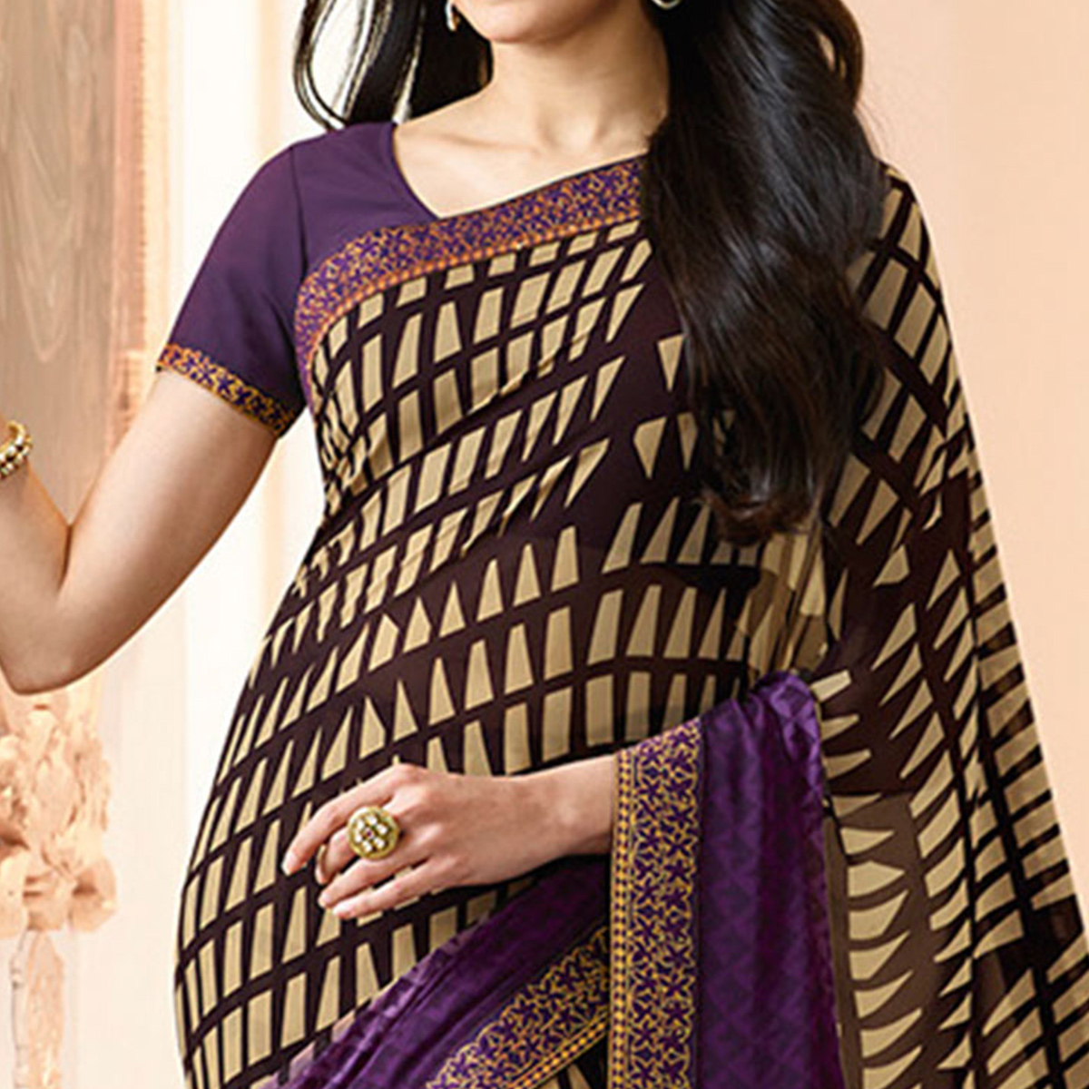 Purple-Cream Colored Casual Wear Printed Georgette Saree