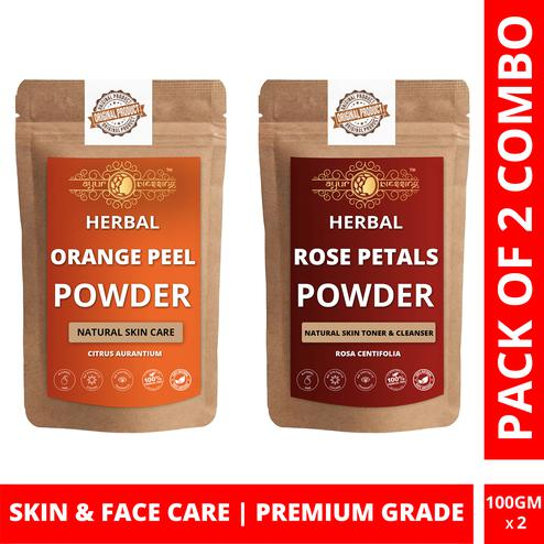 Ayur Blessing - Orange Peel and Rose Petals Powder Combo Pack, For Face Pack and Skin Care , Pack of 2 (100 Gram * 2)
