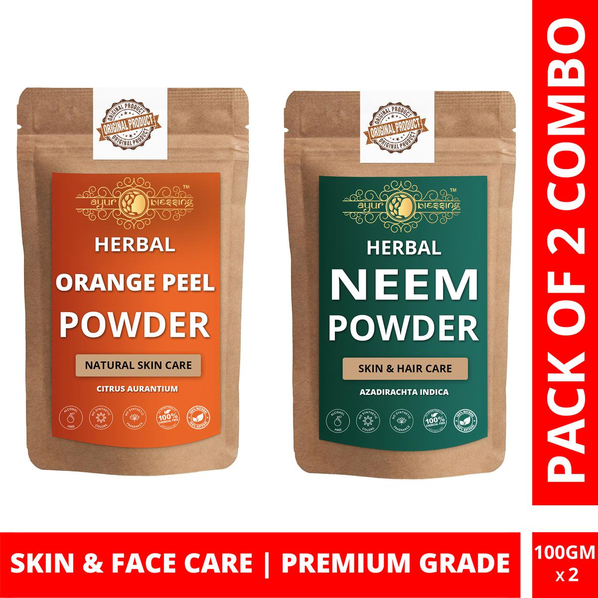 Ayur Blessing - Orange Peel and Neem Powder Combo Pack, For Face Pack and Skin Care , Pack of 2 (100 Gram * 2)