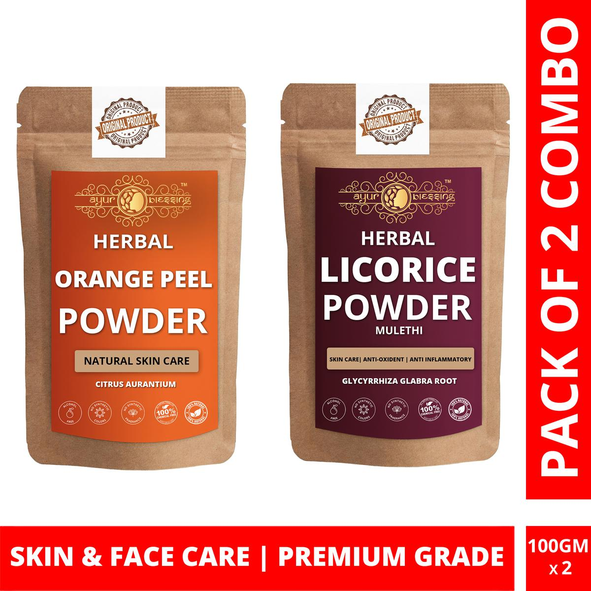 Ayur Blessing - Orange Peel and Licorice Powder Combo Pack, For Face Pack and Skin Care , Pack of 2 (100 Gram * 2)