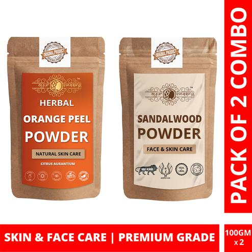 Ayur Blessing - Orange Peel and Chandan Powder Combo Pack, For Face Pack and Skin Care , Pack of 2 (100 Gram * 2)
