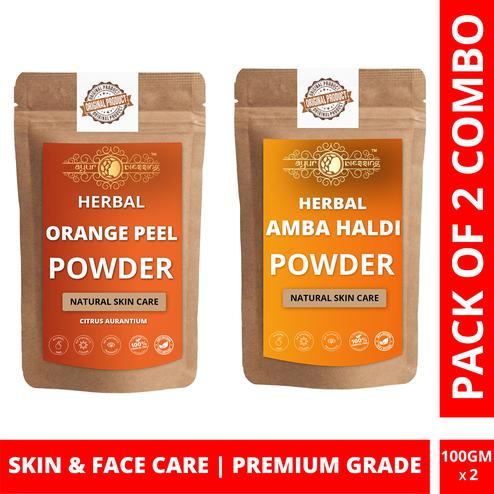 Ayur Blessing - Orange Peel and Amba Haldi Powder Combo Pack, For Face Pack and Skin Care , Pack of 2 (100 Gram * 2)