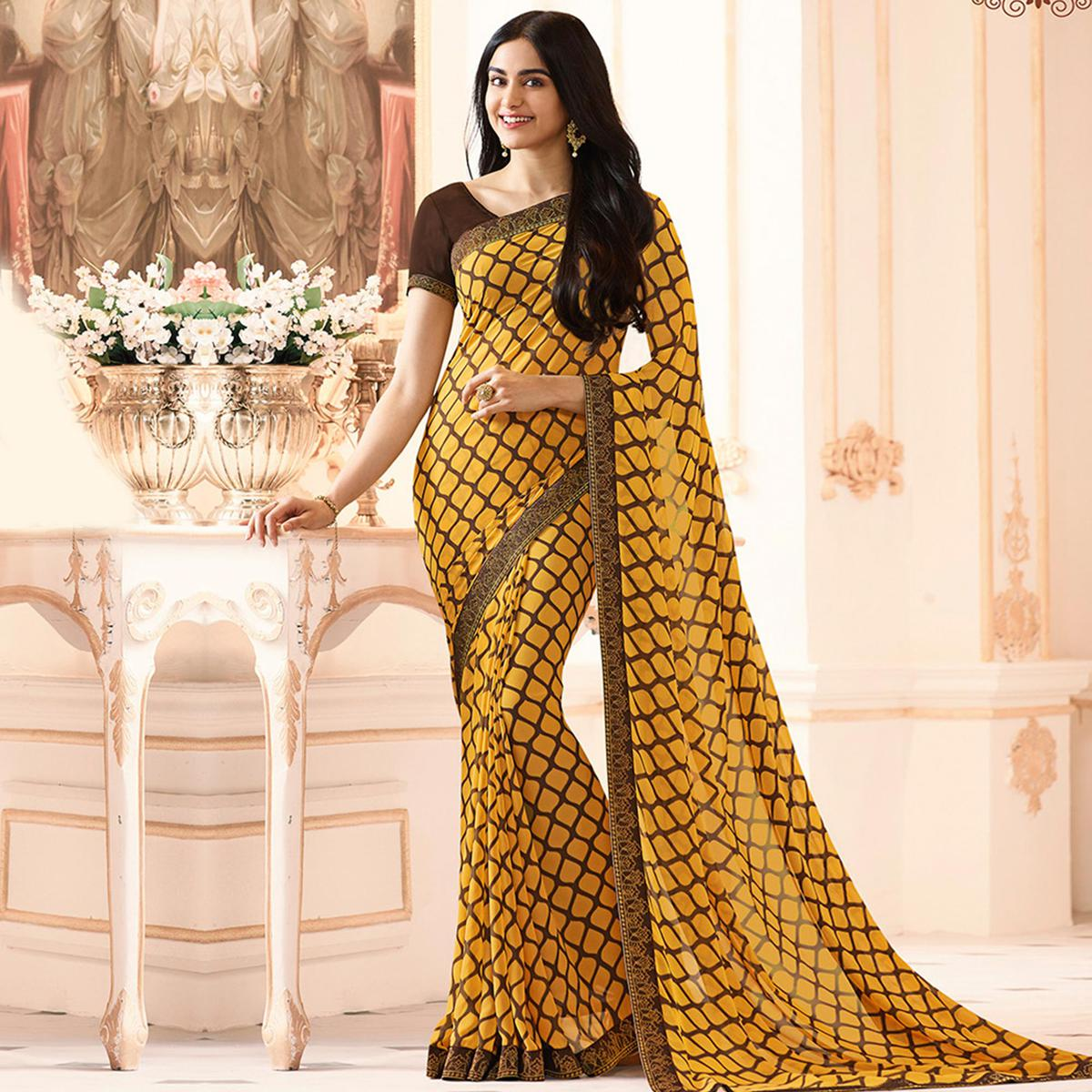 Yellow Colored Casual Wear Printed Georgette Saree