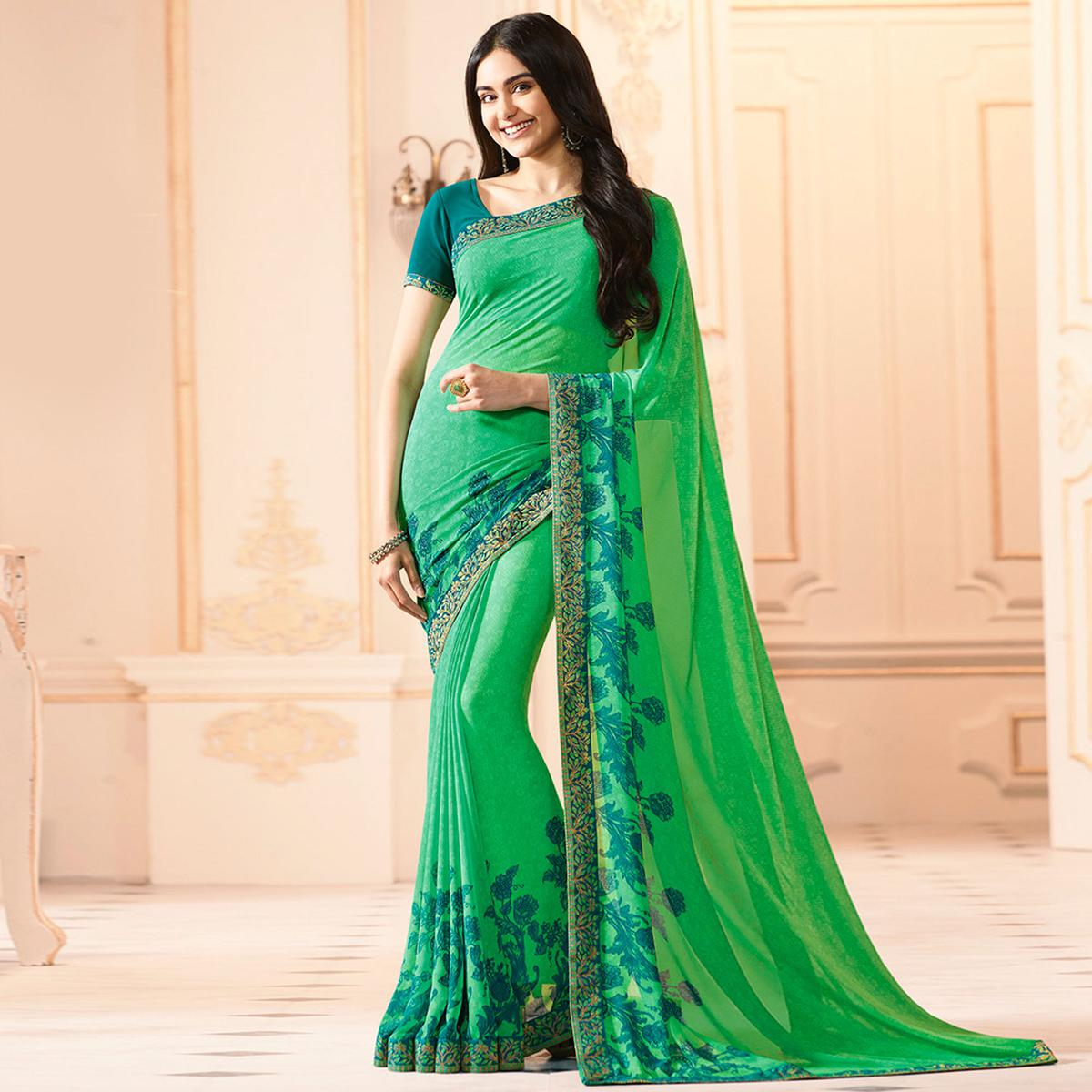 Green Colored Casual Wear Printed Georgette Saree