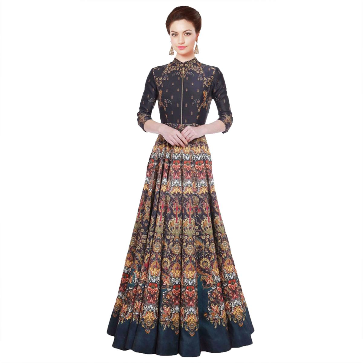 Multi Color Digital Printed Gown